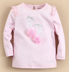 Girl long-sleeves tee - ballet shoes