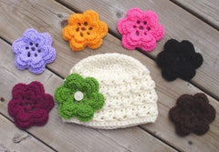 Handmade crocheted Beanie with 7 flowers