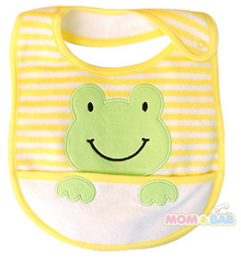 Extra large bib with pocket - Yellow frog