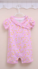 Baby girl polka dot sunsuit pink