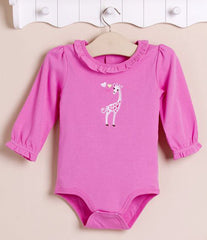 Baby girl long-sleeves bodysuit - Pink giraffe