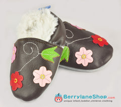Baby girl soft sole leather shoes - Brown flowers