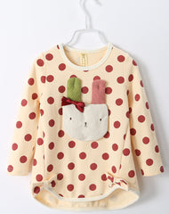 Applique bunny polka dot long-sleeves tee - beige