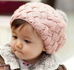 Toddler knit beanie with fluffy bobble pink