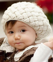 Toddler knit beanie with fluffy bobble - Irish cream