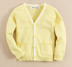 knit cardigan in soft yellow