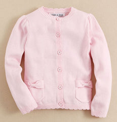 baby girl knit cardigan in soft pink