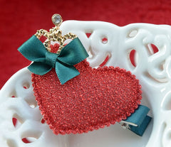 Handmade Christmas heart hair clip