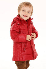 Children quilted puffer jacket - Dark red
