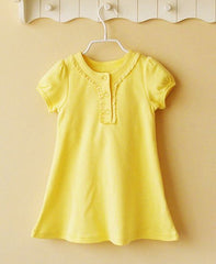Cap-sleeve dress - yellow