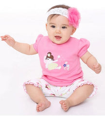 Hot pink baby girl short sleeves tee with fairy embroidered