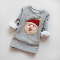 Children microfleece Santa top in grey