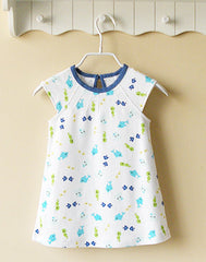 White and blue fish dress