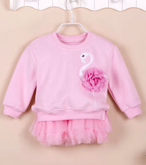Girls' Fleece Top with Tutu Dress (2 piece set) - Pink swan