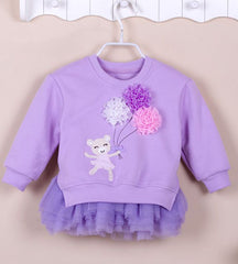 Girls' Fleece Top with Tutu Dress (2 piece set) - Purple bear