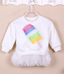 Girls' Fleece Top with Tutu Dress (2 piece set) - White popsicle