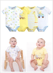 4-pack short-sleeve bodysuits gift set - Giraffe