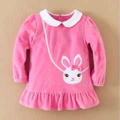 Girl bunny velvet dress