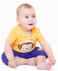 Baby boy monkey short sleeves tee in yellow