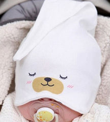 Infant cotton knot hat - White