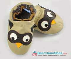 Baby boy soft sole leather shoes - Owl
