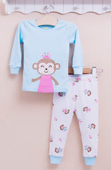 2-piece snug fit cotton pajama - Monkey princess