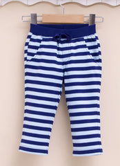 boys pull on cotton pants blue strip