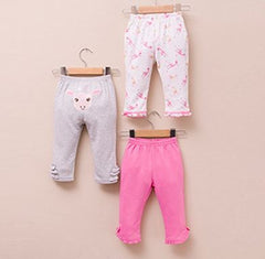 3-pack Baby Girl Cotton Pants - Giraffe