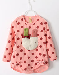 Applique bunny polka dot long-sleeves tee - watermelon