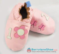 Baby girl soft sole leather shoes - Pink flowers
