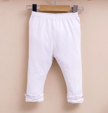 Girls ruffle leggings - White