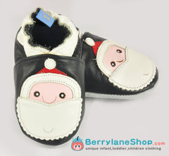 Baby boy soft sole leather shoes - Santa black