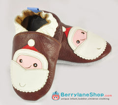 Baby boy soft sole leather shoes - Santa red
