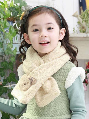 Children teddy bear scarf - Cream