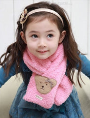 Children teddy bear scarf - Pink