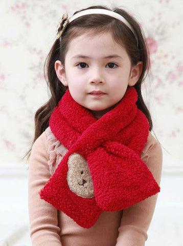 Children teddy bear scarf - Red