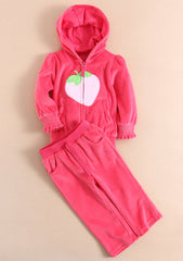 Baby girl/girl velour track suit - Strawberry