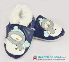 Baby soft sole leather shoesl with faux fur - Snowman