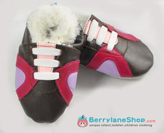 Baby girl soft sole leather shoes with faux fur - Sports