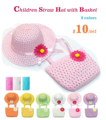 Children Straw Hat and Basket sun hat