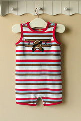 Baby boy sleeveless romper - Airplane stripe