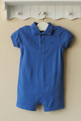 Baby boy polo-style romper - blue