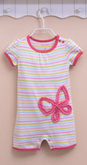 Baby girl butterfly stripe sunsuit
