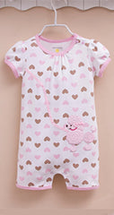 Baby girl doggy sunsuit with hearts