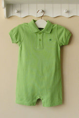 Baby boy polo-style romper - green