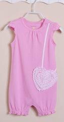 Baby girl pink heart sunsuit