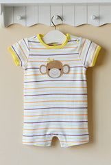 Baby boy sleeveless romper - Monkey stripe