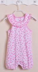 Baby girl pink ribbon sunsuit