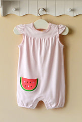 Baby girl short-sleeve romper - Watermelon