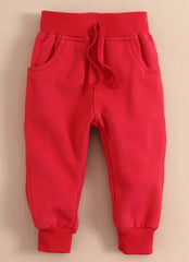 Baby/Toddler ribbed cuffs sweatpants - Red